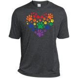 Rainbow Paw Print Love dark gray tshirt for men