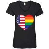 Gay Pride USA Flag Love v-neck black women Shirt LGBT Pride USA Flag tshirt for women