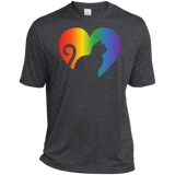 Rainbow Cat Heart LGBT Pride dark grey mens tshirt | Affordable LGBT  tshirt for pet lovers