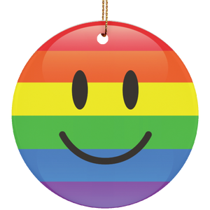 LGBT Pride Smiley Ceramic Circle Christmas Ornament