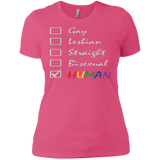 Human Check Box LGBT Pride pink T Shirt for Women Human Equality LGBT Pride pink Tshirt for Women