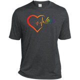 Rainbow Heartbeat Love Shirt Gay Pride dark grey tshirt for men