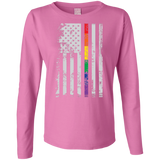 Rainbow Pride USA Flag Strip pink long sleeves T Shirt for women