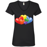 Vibrant Heart Gay Pride Black T Shirt for Women  LGBT Pride V-neck Tshirt for Women