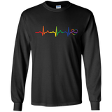 Rainbow Heartbeat gay pride black full sleeves Men's tshirt