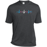 Trans Pride Heartbeat dark grey tshirt for men