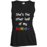 black color sleeveless lesbian couple tshirt for women