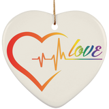Rainbow Heartbeat Love Ceramic Christmas Ornament