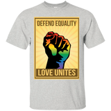 """Defend Equality, Love Unites"" Gay Pride T-shirt Gray Color Round Neck Half Sleeves Digital Print T-shirt"