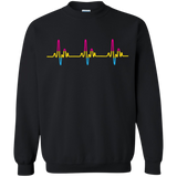 LGBT Pride Pansexual Heartbeat black full sleeves sweatshirt for men & women