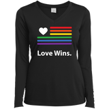 """LGBT Flag Love Wins"" LGBT Pride Black full Sleeves Round tshirt for women"