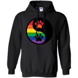 Rainbow Paw Yin Yang Pet long sleeves black Hoodie For Men &  women LGBT Pride Hoodie for Men Women