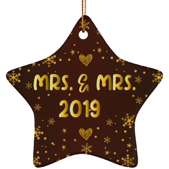 Mrs and Mrs 2019 LGBT Pride Ceramic Star Christmas Ornament Gift For Lesbian, Gay Couple