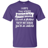 Anti Homophobia LGBT Shirt Gay pride ultra cotton purple tshirt for men