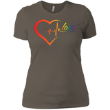 Rainbow Heartbeat Love Shirt Gay Pride tshirt for women