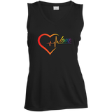 Rainbow Heartbeat Love Shirt Gay Pride black v-neck sleeveless tshirt for women
