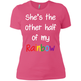 pink color half sleeves lesbian couple tshirt for women