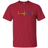 Rainbow Heartbeat red color round neck LGBT Pride tshirt