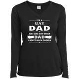 I'm a Gay Dad, just like any other Dad, black full sleeves v-neck tshirt for Women Gay Pride black Tshirt