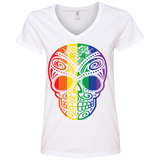 Rainbow Skull white T Shirt for women ultra cotton tshirt for women