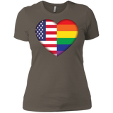 Gay Pride USA Flag Love digital print  women Shirt LGBT Pride USA Flag tshirt for women