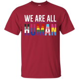 We Are All Human maroon T Shirt for men, half sleeves round neck tshirt for men