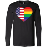Gay Pride USA Flag Love full sleeves men's Shirt LGBT Pride USA Flag black tshirt for men