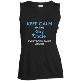 Gay pride sleeveless black women Shirt Keep Calm I'm The Gay Uncle quote printed v-neck Shirt