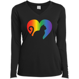 Rainbow Cat Heart LGBT Pride black full sleeves tshirt for womens | Affordable LGBT black v-neck tshirt for pet lovers