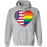 Gay Pride USA Flag Love grey unisex hoodie LGBT Pride USA Flag Hoodie for men & women