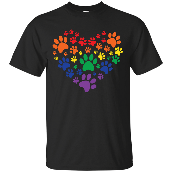 Rainbow Paw Print Love black round neck tShirt for men