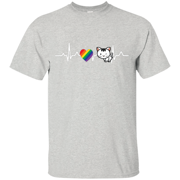 Cat Rainbow Heartbeat Pet Shirt