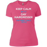 Keep Calm I'm The Gay Hairdresser round neck pink tshirt for women