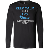 Gay pride full sleevs black Shirt Keep Calm I'm The Gay Uncle quote printed Round neck Shirt for Men