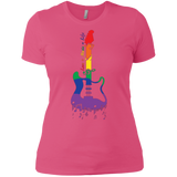 Rainbow guitar LGBT Pride pink tshirt for women & music lover