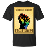 """Defend Equality, Love Unites"" Gay Pride T-shirt Gray Color Round Neck Half Sleeves Digital Print T-shirt""Defend Equality, Love Unites"" Gay Pride T-shirt Black Color Round Neck Half Sleeves Digital Print T-shirt"