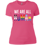 We Are All Human pink T Shirt for women, half sleeves round neck tshiart for women