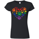 Rainbow Paw Print Love black round neck TShirt for women