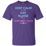 Keep Calm I'm The Gay Nurse purple round neck tshirt for Men
