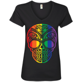 Rainbow Skull black T Shirt for women