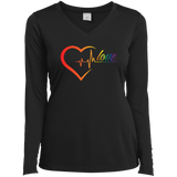 Rainbow Heartbeat Love Shirt Gay Pride black v-neck full sleeves tshirt for women