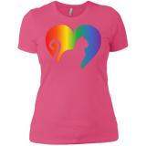 Rainbow Cat Heart LGBT Pride pink tshirt for womens | Affordable LGBT black round neck tshirt for pet lovers
