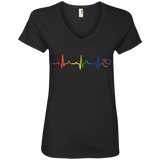 Rainbow Heartbeat black color v-neck LGBT Pride tshirt for women