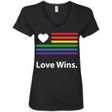 """LGBT Flag Love Wins"" Black Pride Shirt for women LGBT Flag printed v-neck tshirt for women"