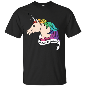 Believe in yourself unicorn black tshirt for Mens LGBT Pride Believe in yourself mens Tshirt