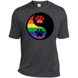 Rainbow Paw Yin Yang Pet dark grey Shirt For Men LGBT Pride tshirt for Men