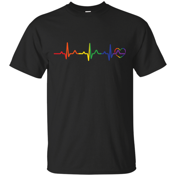 Rainbow Heartbeat Gay Pride Black T Shirt