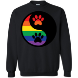 Rainbow Paw Yin Yang Pet long sleeves black sweatshirt For Men &  women LGBT Pride sweatshirt for Men Women