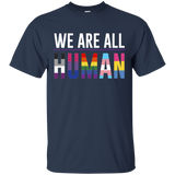 We Are All Human dark blue T Shirt for men, half sleeves round neck tshirt for men