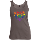 Rainbow Paw Print Love tanktop for women